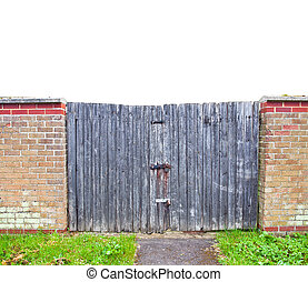 old  wooden gate with metal lock isolated