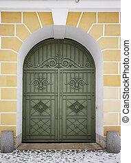 old wooden green door