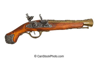 Old wooden gun isolated on white background