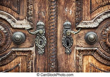 Old wooden hand-carved door