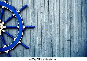 Old Wooden Helm Wheel - Old Vintage Blue Wooden Helm Wheel...