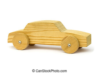 Old wooden homemade toy car on white background