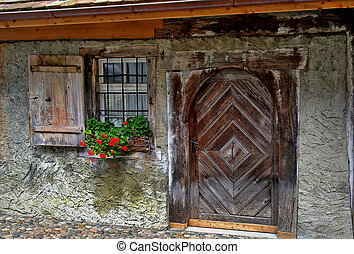 old wooden house door