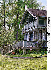 Old wooden house in Bialowieza National Park of Poland