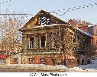 old wooden house in Kazan, Tatarstan, Russia