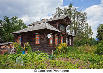 Old wooden house in russian village