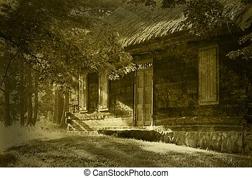 old wooden house in sepia