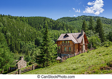 wooden house in spring mountain