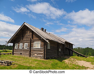 old wooden house in village