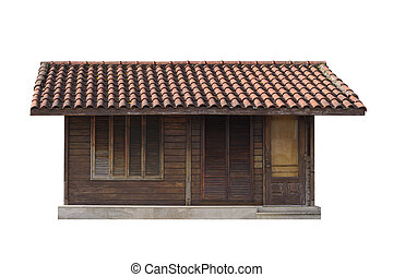 old wooden house isolated on white background