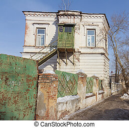 Old wooden house with balcony in the center of Kazan, Russia