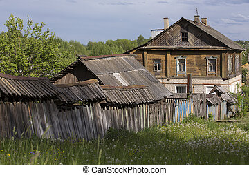 Old wooden houses, in Myshkin city, Russia.