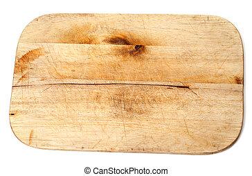 Old wooden kitchen board on white background