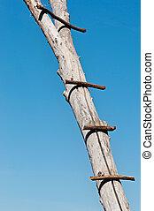 Old wooden ladder on a blue background.