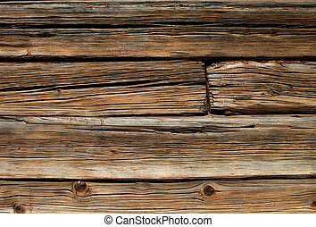 Old wooden log house wall - Old brown wooden log house wall...