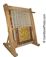 Old wooden loom isolated over white background