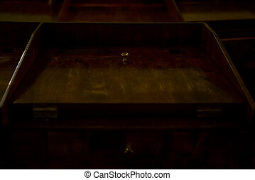 Old wooden lyceum student school desk.