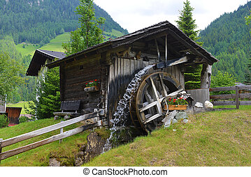 wooden mill - old wooden mill in mountains. mountain ...