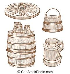 old wooden mugs, bucket, wheel, barrel drawing