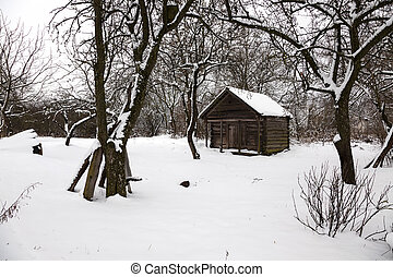 old wooden outbuilding