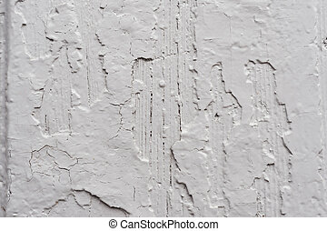 Old wooden painted light gray rustic background with peeling paint. Painted chipped and texture of the wooden surface with oil paint. Damaged texture or background