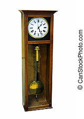 old wooden pendulum clock