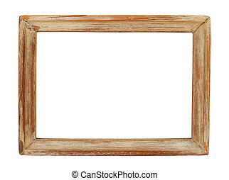 Old wooden picture frame isolated on white