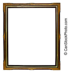 old wooden picture frame on white background