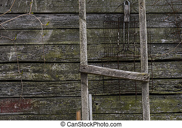 Old wooden plank background with vertical lines.