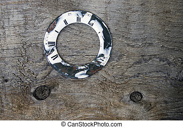 old wooden plank with clock dial background