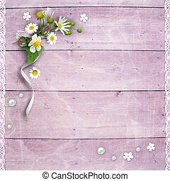 Old wooden planks with flowers