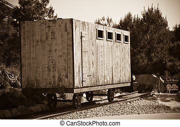 old wooden railway  wagon