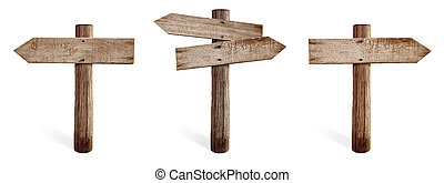 Old wooden road sign set including right, left and both...