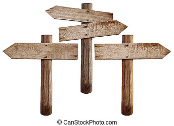 Old wooden road signs right, left and both arrows isolated ...