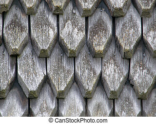 Old wooden roof covered.
