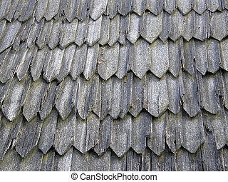 Old wooden roof covered