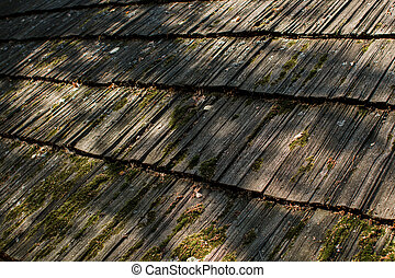 old wooden roof of a house in the forest
