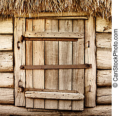 Old wooden rustic door - Wooden door of old rustic cabin