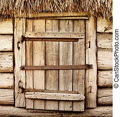 Old wooden rustic door - Wooden door of old rustic cabin