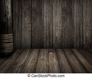 Old wooden scene as pirates theme background - pirates theme...