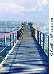 Old wooden sea pier