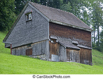 old wooden shed in switzerland
