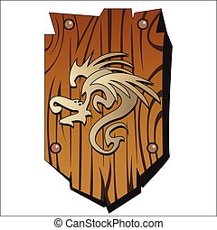 wooden shield - old wooden shield with a dragon print on a...