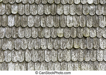 old wooden shingles on the roof