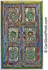 Old wooden shutters. Rajasthan, India