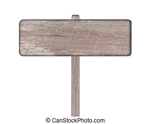Old wooden sign isolated on white.