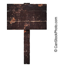 old wooden sign on a stick with place for your text. isolated