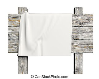 Old wooden sign with white fabric on it isolated