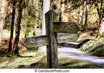 old wooden signpost in the lake district