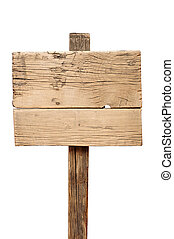 Old wooden signpost isolated on white